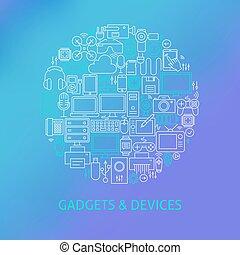 concept, électronique, icônes, gadgets, ensemble, mince, cercle, ligne