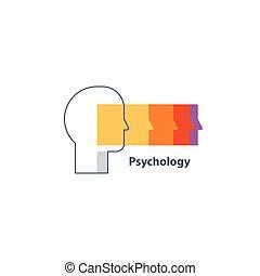 concept, émotif, psychologie, intelligence, logo