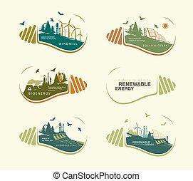 concept, énergie, ensemble, la terre, bulb., renouvelable
