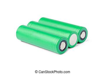 concept, énergie, fond, perspective., batterie, vert, devices., batteries., 3, piles, 18650, magasin, blanc