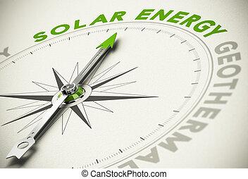 concept, énergies, énergie, -, choix, vert, solaire