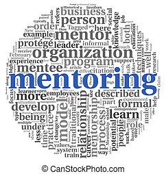 concept, étiquette, mentoring, nuage