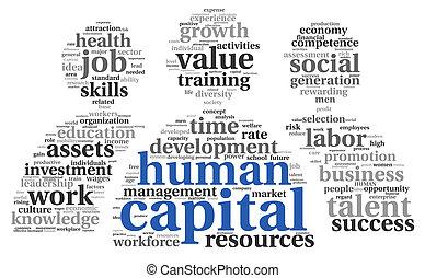 concept, étiquette, nuage, capital humain