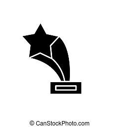 concept, étoile, isolé, récompense, signe, arrière-plan., vecteur, noir, illustration, icône, symbole