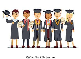 concept, étudiants, remise de diplomes, diplômé, vecteur, collège