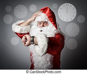 concept, être, claus, late., santa, temps
