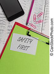 concept, être, texte, dire, smartphone, feuille, carré, écriture, note, arrière-plan., presse-papiers, sécurité, crayon, utilisé, first., sûr, la plupart, signification, important, bois, clips, chose, écriture