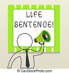 concept, être, texte, instructions., haut-parleur, annonce, donner, long, écriture, prison, sentence., vie, très, symbole, signification, mettre, homme, contour, temps, confection, écriture, punition