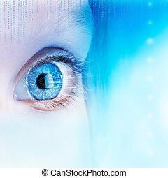 concept., ögon, framtidstrogen