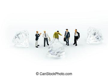 concept., άνθρωποι , επιχειρηματίας , μοιράζω , διαμάντι , επιχείρηση , μινιατούρα , σύνδεση , :