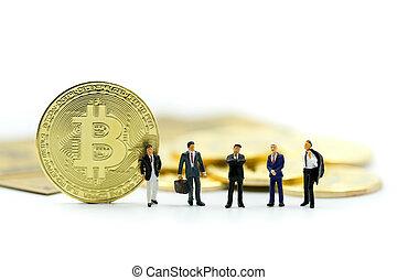 concept., άνθρωποι , επιχειρηματίας , cryptocurrency, κάρτα , bitcoins, δολάριο , ψηφιακός , χαρτονόμισμα , , μινιατούρα , χρήματα , ζεύγος ζώων , :