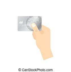 concept., - , απομονωμένος , χέρι , πιστώνω , μικροβιοφορέας , κράτημα , icon., πληρωμή , κάρτα