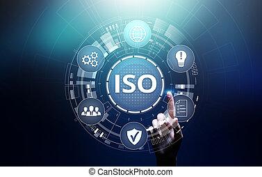 concept., ασφάλεια , επιχείρηση , ποιότητα , iso, διακόπτης , εγγύηση , πρότυπα , τεχνολογία