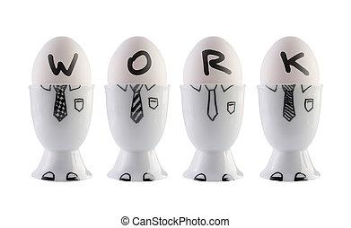 concept., αυγά , αρμοδιότητα εργάζομαι αρμονικά με