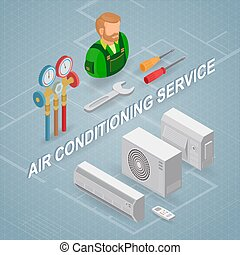 concept., δημιουργώ εξαρτημένο ανακλαστικό , αέραs , equipment., service., isometric , εργάτης