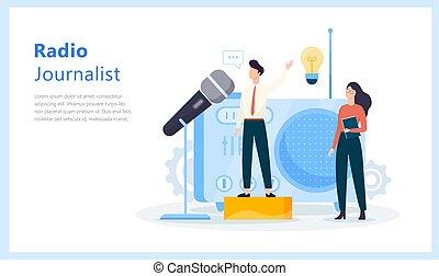 concept., ιδέα , αναμετάδοση , ραδιόφωνο , δημοσιογράφος , νέα , στούντιο