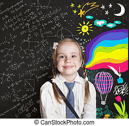concept., μόρφωση , παιδί , κομψός , δημιουργικότητα , κορίτσι , ιζβογις , μικρός , μαυροπίνακας , φόντο , παιδική ηλικία , επιστήμη , αίσιος ευθυμία , ανακάλυψη