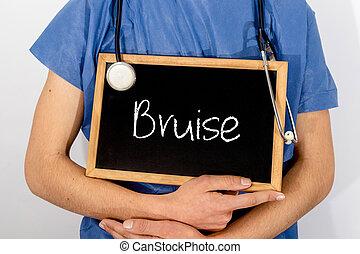concept., врач, медицинская, bruise., информация, shows, blackboard: