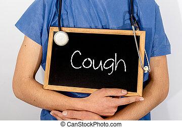 concept., врач, медицинская, cough., информация, shows, blackboard: