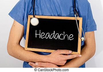 concept., врач, медицинская, headache., информация, shows, blackboard:
