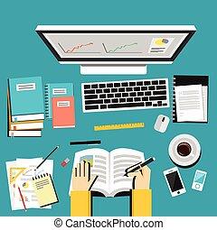 concept., שיעורי בית, שיפור, computer., ללמוד, ידע, למד, חינוך