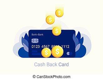 concept., お金。, 現金, 背中, クレジット, コイン, カード