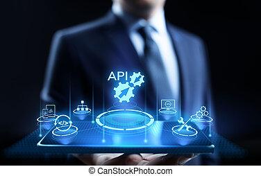 concept., インターフェイス, プログラミング, api, 適用, 技術, 開発