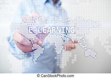concept., オンラインで, e 勉強, インターネット, technology., インターナショナル, 教育