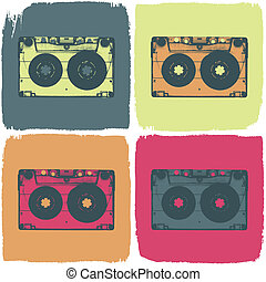 concept., カセット, eps8, ベクトル, オーディオ, pop-art
