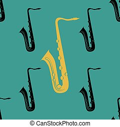 concept., ジャズ, pattern., seamless, saxophone.