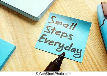 concept., ステップ, 引用, 手書き, 小さい, テーブル。, 毎日, 動機づけ