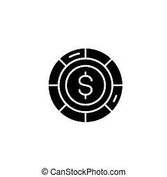 concept., チップ, ベクトル, 黒, シンボル, 平ら, アイコン, 印, illustration.