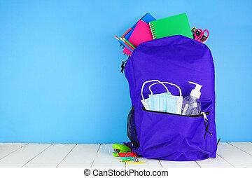concept., バックグラウンド。, supplies., 19, 背中, フルである, 供給, 学校, バックパック, covid, 防止, の間, pandemic, 青