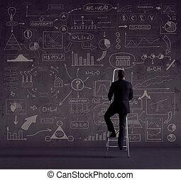 concept., ビジネスマン, オフィス, stepladder., 地位, ビジネス
