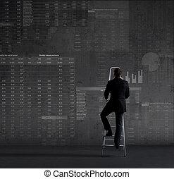 concept., ビジネスマン, 概略図, オフィス, stepladder., 地位, ビジネス, バックグラウンド...