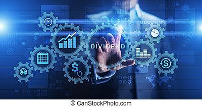 concept., ビジネス, 投資, ボタン, 配当, 事実上, roi, リターン, 富, screen., 財政