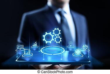 concept., ビジネス, optimisation, 産業, オートメーション, 革新, 技術, プロセス