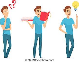 concept., ファインド, 教育, 考え, イラスト, answers., 男の子, 若い, 解決, 新しい, ...
