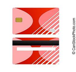 concept., ベクトル, カード, payment., 背中, 隔離された, 前部, 白, 買い物, 赤, ビジネス, クレジット, デザイン, イラスト, バックグラウンド。