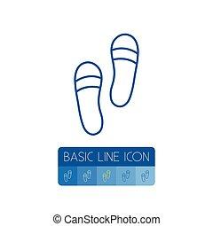 concept., ベクトル, サンダル, ありなさい, 使われた, 隔離された, 靴, outline., 要素, 靴, はき物, サンダル, 缶, デザイン