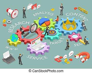 concept., ベクトル, デジタル, 平ら, 等大, マーケティング