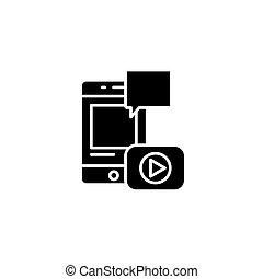 concept., ベクトル, レポート, 黒, シンボル, ビデオ, 平ら, アイコン, 印, illustration.