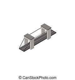 concept., ベクトル, 橋, ありなさい, isometric., 隔離された, 要素, 橋, 使われた, 缶, デザイン, 懸濁液, ハイウェー