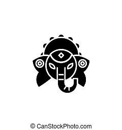 concept., ベクトル, 神, 黒, シンボル, indian, 平ら, アイコン, 印, illustration.
