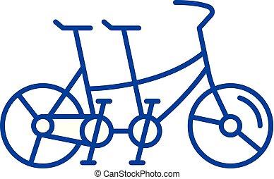 concept., ベクトル, 線, シンボル, 平ら, アイコン, ダブル, 印, アウトライン, 自転車, illustration.
