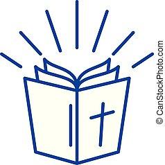 concept., ベクトル, 線, シンボル, 平ら, アイコン, 印, アウトライン, 聖書, illustration.