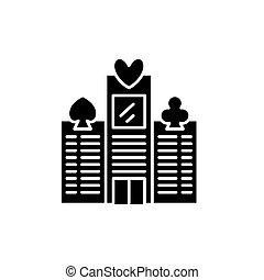 concept., ベクトル, 黒, シンボル, カジノ, アイコン, 平ら, 印, illustration.