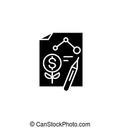 concept., ベクトル, 黒, シンボル, 始動, 平ら, アイコン, 計画, 印, illustration.
