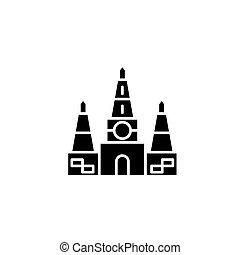 concept., ベクトル, 黒, シンボル, 寺院, indian, 平ら, アイコン, 印, illustration.