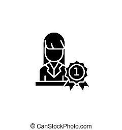 concept., ベクトル, 黒, シンボル, 平ら, アイコン, リーダー, 印, 女, illustration.